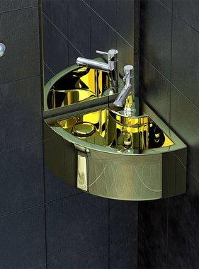 vidaXL Wastafel met overloop 45x32x12,5 cm keramiek goudkleurig