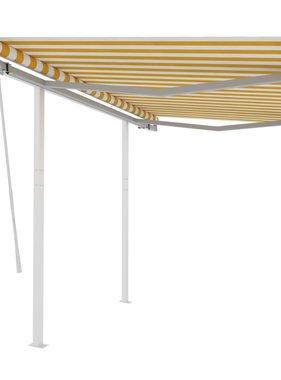 vidaXL Luifel handmatig uittrekbaar met palen 3x2,5 m geel en wit