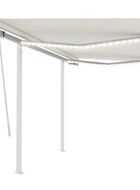 vidaXL Luifel handmatig uittrekbaar met LED 3x2,5 m crèmekleurig