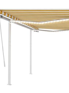 vidaXL Luifel handmatig uittrekbaar met LED 3x2,5 m geel en wit