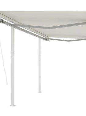 vidaXL Luifel automatisch uittrekbaar met palen 3x2,5 m crèmekleurig