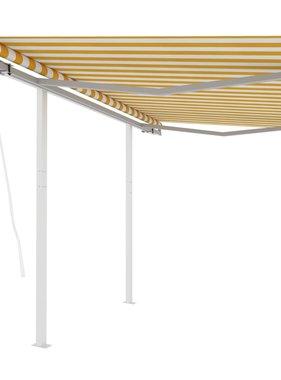vidaXL Luifel automatisch uittrekbaar met palen 3x2,5 m geel en wit