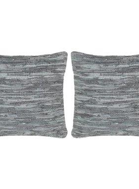 vidaXL Kussens 2 st chindi 45x45 cm leer en katoen grijs