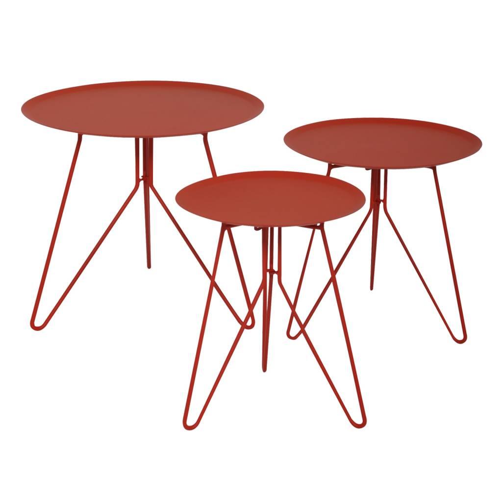 Rode ronde salontafel voor de wachtkamer of receptie. materiaal: staal. verschillende salontafels voor op het ...