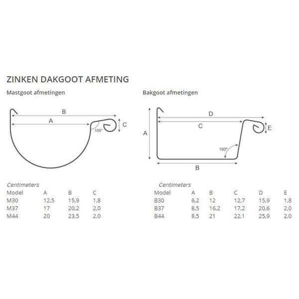 Zinken mastgoot M44 2 meter prijs