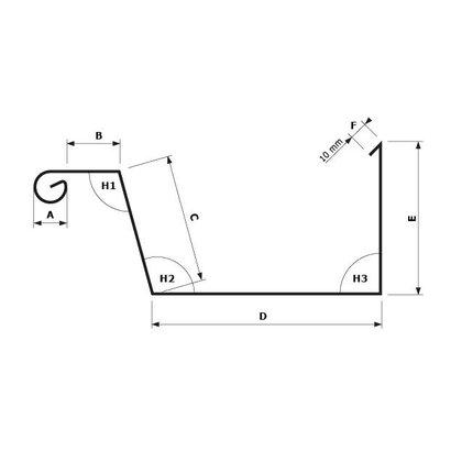 Zetwerk zink - Dakgoot op maat Type 3