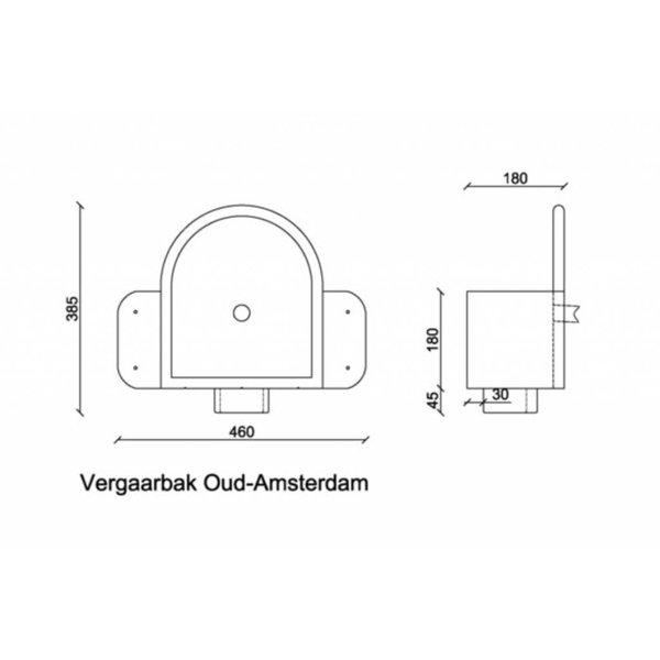 Zinken vergaarbak 80mm rond Oud Amsterdam
