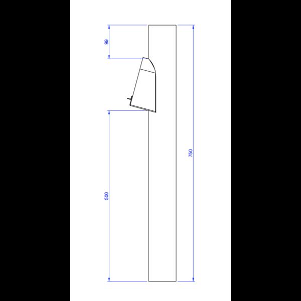 Bladafscheider aluminium 80mm 75cm hoog in Ral