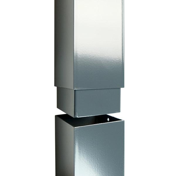 Aluminium vierkante regenpijp 80x80 mm 3 meter inwendige verbinding