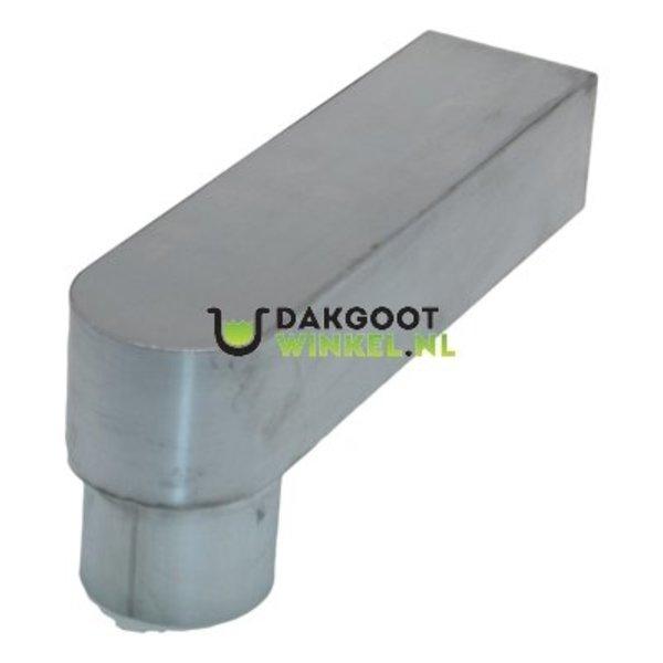 Stadsuitloop 60x80 naar rond 80mm. zink. lengte 333mm