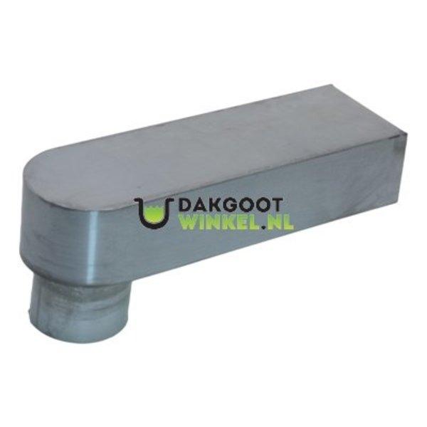 Stadsuitloop 60x100 naar rond 80mm. zink. lengte 333mm