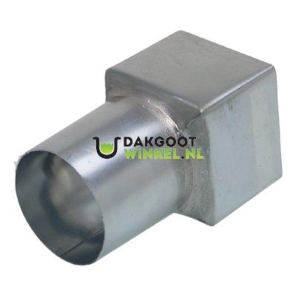 Regenpijp verloopstuk vierkant 80x80mm naar rond 80mm. zink