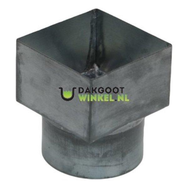 Verloopstuk zink vierkant 100x100 naar 100mm rond