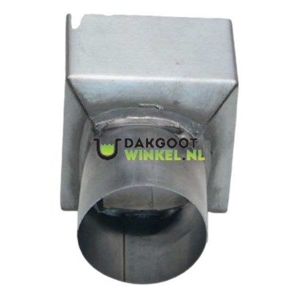 Regenpijp verloopstuk zink vierkant 100x100mm naar rond 80mm