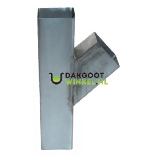 T-stuk zink 80x80mm vierkant 45 graden