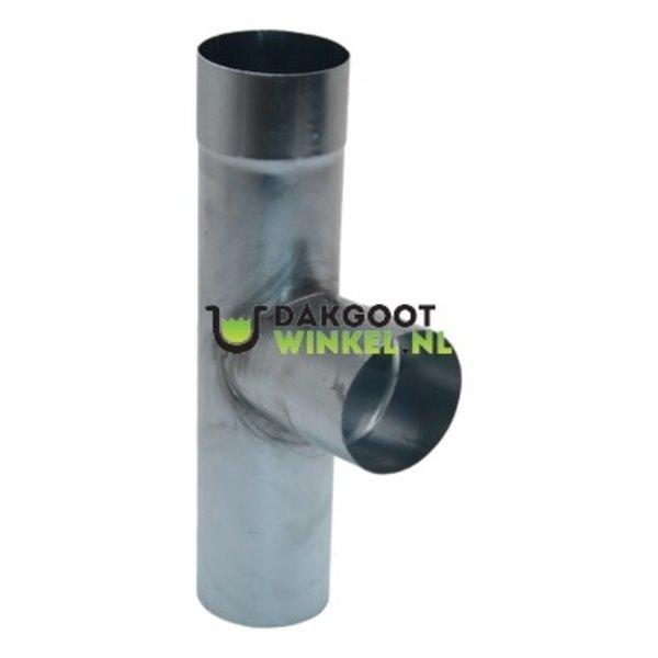 Regenpijp T-stuk zink 80mm rond. 85/90 graden