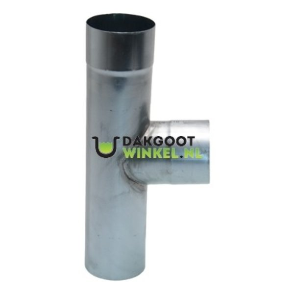 T-stuk zink 100mm rond 85/90 graden