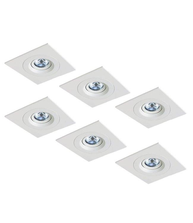 Set van 6 stuks LED inbouwspot Amsterdam 8W, dimbaar (vierkant)