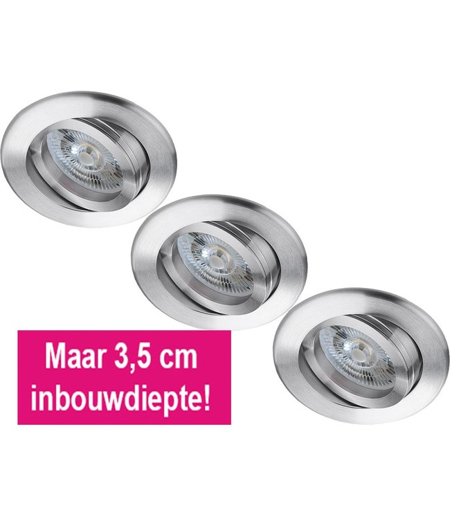 Set van 3 stuks LED inbouwspot 6 Watt, dimbaar
