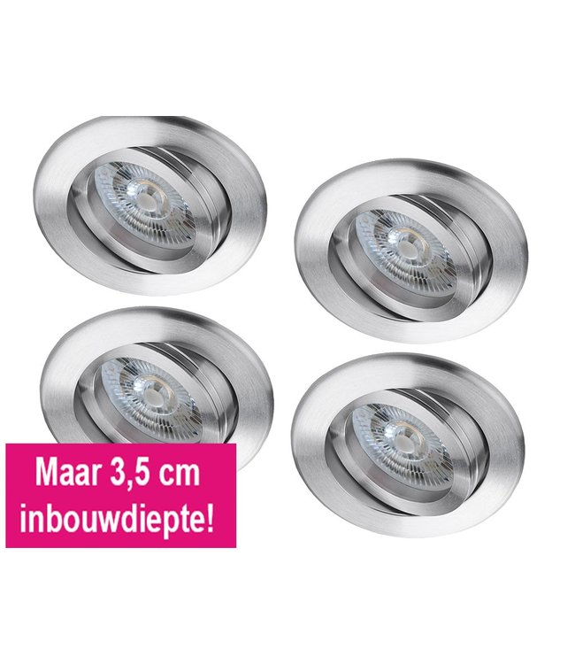 Set van 4 stuks LED inbouwspot 6 Watt, dimbaar