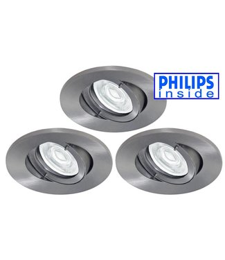 Philips 3 stuks Badkamer (IP44) inbouw LEDspot 12 V 3,4W armatuur + spot
