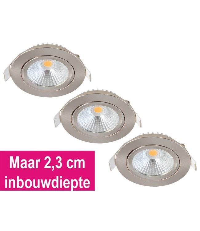 Set van 3 Inbouw Ledspot Oslo-Star RVS, 5 Watt, Dimbaar Warm Wit IP44