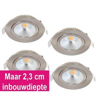 Set van 4 Inbouw Ledspot Star RVS, 5 Watt, Dimbaar, kantelbaar, Warm Wit, Geschikt voor de badkamer. IP54