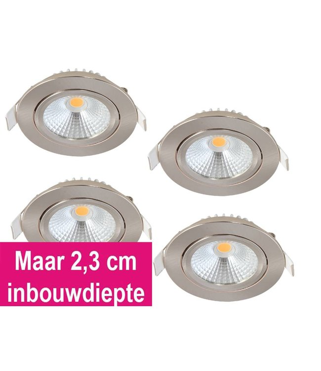 Set van 4 Inbouw Ledspot Oslo-Star RVS, 5 Watt, Dimbaar Warm Wit IP44