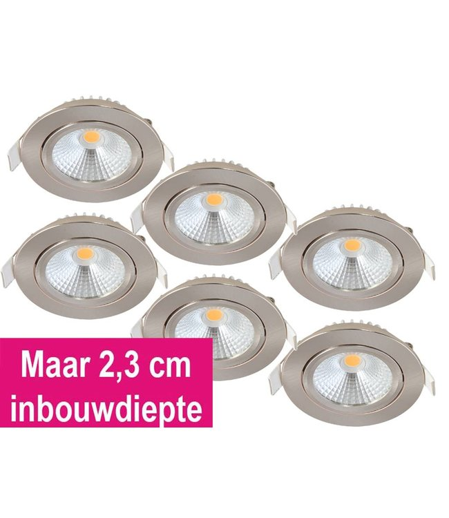 Set van 6 Inbouw Ledspot Oslo-Star RVS, 5 Watt, Dimbaar Warm Wit IP44