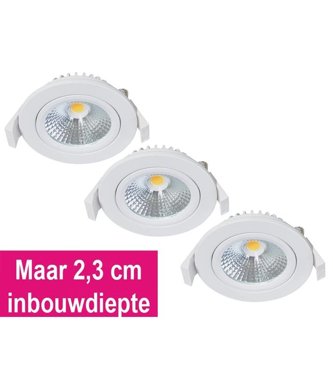 Set van 3 Inbouw Ledspot Oslo-Star Wit, 5 Watt, Dimbaar Warm Wit IP54