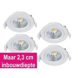 Set van 4 Inbouw Ledspot Star Wit, 5 Watt, Dimbaar Warm Wit IP54