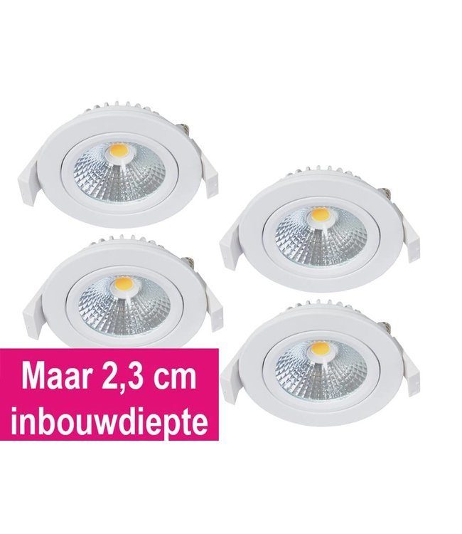 Set van 4 Inbouw Ledspot Oslo-Star Wit, 5 Watt, Dimbaar Warm Wit IP54