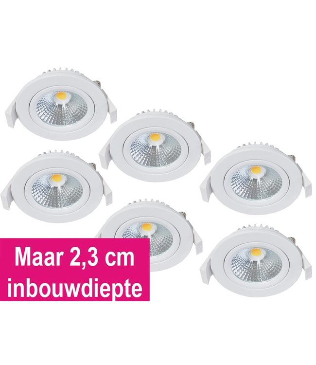 Set van 6 Inbouw Ledspot Olso-Star Wit, 5 Watt, Dimbaar Warm Wit IP54