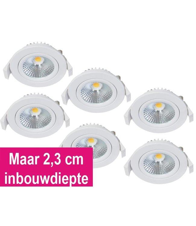 Set van 6 Inbouw Ledspot Star Wit, 5 Watt, Dimbaar Warm Wit IP54