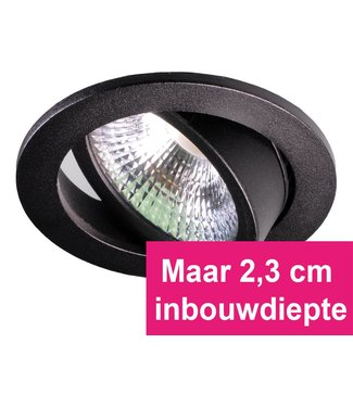 Zwarte Inbouw Ledspot Star, 5 Watt, Dimbaar Warm Wit IP54
