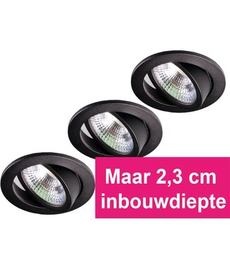 Set van 3 zwarte inbouw ledspot Oslo Star RVS, 5 Watt, Dimbaar Warm Wit IP54