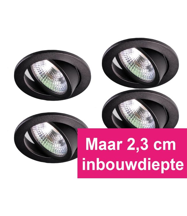 Set van 4 zwarte inbouw ledspot  Oslo  Star RVS, 5 Watt, Dimbaar Warm Wit IP54
