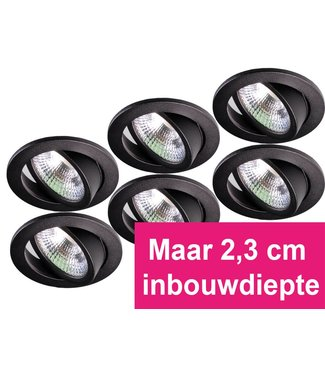 Set van 6 zwarte inbouw ledspot Star RVS, 5 Watt, Dimbaar Warm Wit IP54