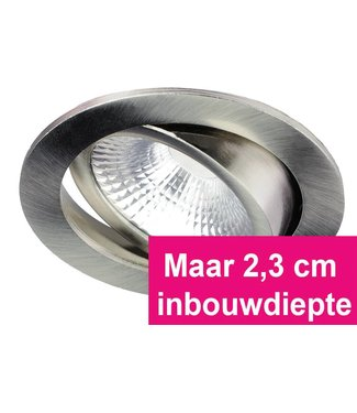 Inbouw Ledspot Oslo-Star RVS, 5 Watt, Dimbaar Warm Wit IP54
