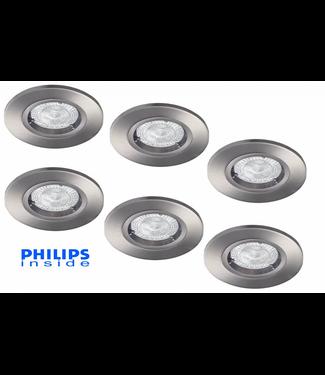 Philips Set van 6 stuks LED inbouwspot 4,9W (50W), dimbaar