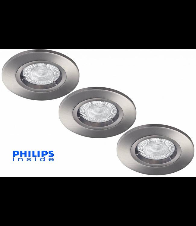 Philips Set van 3 stuks LED inbouwspot 4,9W (50W), dimbaar