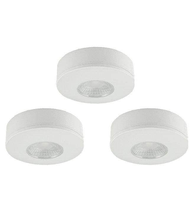 Set van 3 Cabinet Led Opbouwspot warm wit, witte uitvoering IP44, dimbaar