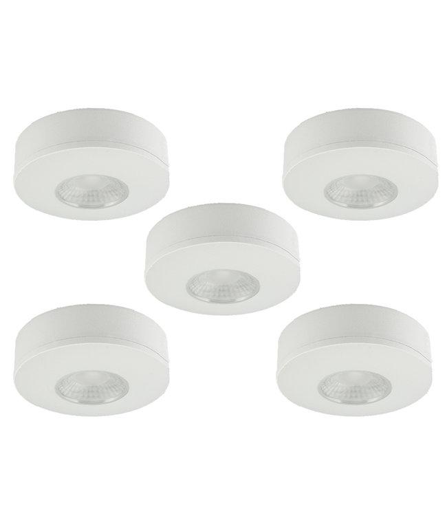 Set van 5 Cabinet Led Opbouwspot warm wit, witte uitvoering IP44, dimbaar