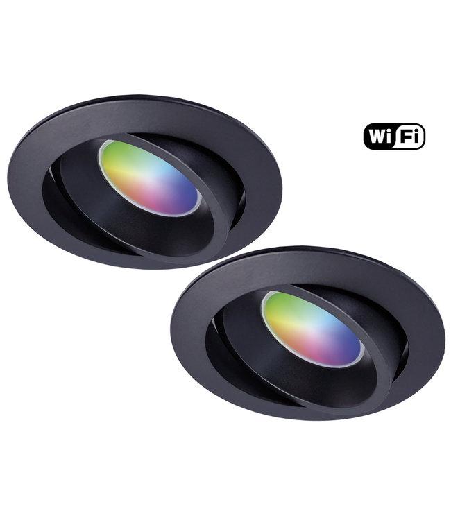 Wiz Set van 2 stuks Zwarte Wifi. RGB en dimtone spots, 5,5 W. Dimbaar via app.