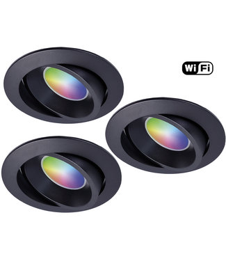 4Lite Set van 3 stuks Zwarte Wifi. RGB en dimtone spots, 5,5 W. Dimbaar via app.