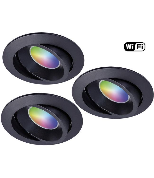 Wiz Set van 3 stuks Zwarte Wifi. RGB en dimtone spots, 5,5 W. Dimbaar via app.