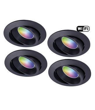 4Lite Set van 4 stuks Zwarte Wifi. RGB en dimtone spots, 5,5 W. Dimbaar via app.