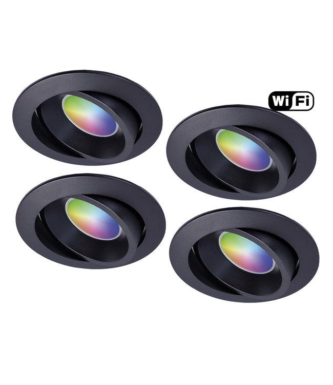Wiz Set van 4 stuks Zwarte Wifi. RGB en dimtone spots, 5,5 W. Dimbaar via app.