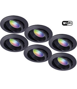 Wiz Set van 6 stuks Zwarte Wifi. RGB en dimtone spots, 5,5 W. Dimbaar via app.
