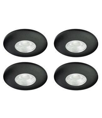 Set van 4 Cabinet Led Inbouwspots warm wit, zwarte uitvoering IP44, dimbaar